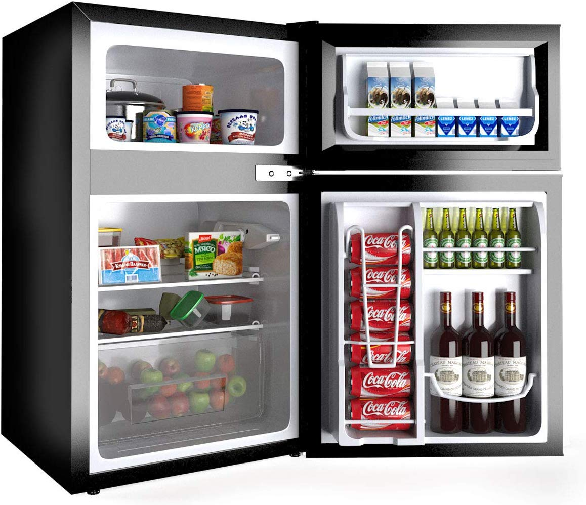 The Best in Storage space: Costway 2 Door mini-fridge